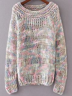To find out about the Multicolor Marled Knit Hollow Out Sweater at SHEIN, part of our latest Sweaters ready to shop online today! Girls Sweaters, Cozy Sweaters, Loom Knitting, Knitting Patterns, Kiro By Kim, Knitwear Fashion, Lana, Knit Crochet, Bodysuits