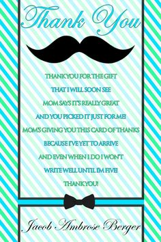 Little Man Mustache Bash Baby Shower Thank You Card Personalized on Etsy, $5.00