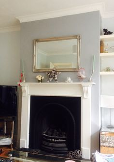 Chimney breast in Warm Pewter - Dulux Living Room Grey, Living Room Decor, Living Rooms, Interior Design Living Room, Living Room Designs, Hallway Colours, Fireplace Design, Fireplace Ideas, Front Rooms