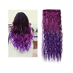 JUJU Ombre Dip-dye Color Clip in Straight Synthetic Thick Hair... ($4.88) ❤ liked on Polyvore featuring hair