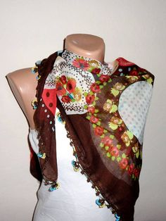 brown white scarf floral print scarf cotton scarf turkish