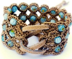 Crochet Jewelry Bohemian Bracelet or Cuff by GlowFlyJewelry