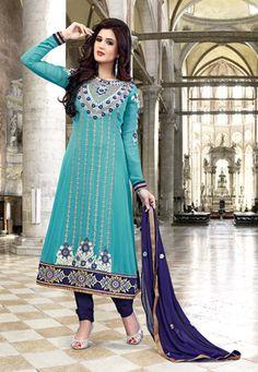 Turquoise Blue Faux Georgette Anarkali Churidar Kameez $76