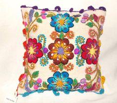 Fundas de cojines - cojín bordado flores peru tejido boho hippie ...