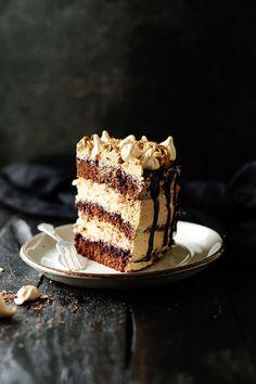 chocolate meringue cake with coffee swiss meringue buttercream