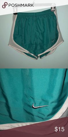 Nike running shorts fun, versatile turquoise color!! comfy & easy for working out or just chilling!! Nike Shorts