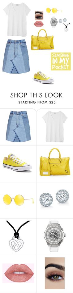 """""""Untitled #821"""" by einatv ❤ liked on Polyvore featuring RE/DONE, Hush, Converse, Balenciaga, Ray-Ban, Poiray Paris and Hublot"""