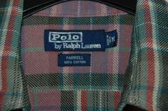 Vintage Ralph Lauren Polo Farrell Mens Shirt Long Check Purple Green Pockets M