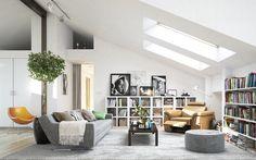 Modern tetőtéri nappali
