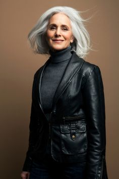 .Beautiful lady! silver hair-gray turtleneck-black leather jacket-PERFECT!
