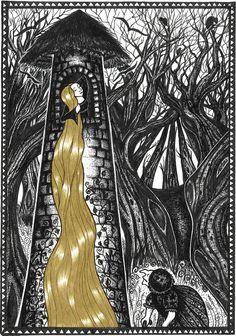 Rapunzel - limited edition print - Fairy Tale Art. $40.00, via Etsy.