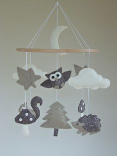 Baby Mobile  Owl / Woodland Baby Mobile  Forest by ClooneyCrafts