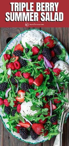 Hands-down one of my favorite summer salads! Triple berry salad with arugula and burrata with a light citrus dressing. So GOOD! Mediterranean Salad Recipe, Mediterranean Diet, Best Summer Salads, Summer Recipes, Ways To Eat Healthy, Healthy Foods, Great Salad Recipes, Berry Salad, Food Dishes