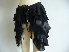 Pixie Skirt Bustle Skirt black Gothic STEAMPUNK Style Belt / Frindges Feathers & Lace dark fairy victorian Helloween Witch