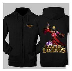 League of Legends Karthus printed sweatshirt 3XL fleece zip hoodies for men