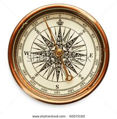 stock photo : Old compass on white background