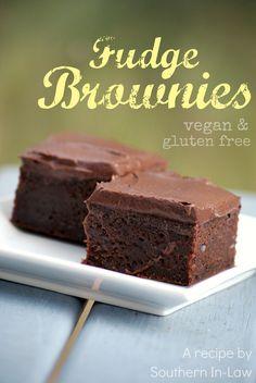 Vegan and gluten free Fudge Brownies. Use Coconut Oil instead of veggie oil.