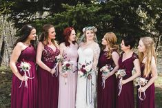Shelby and Seamus were high school sweethearts, they planned a gorgeous mountain Air Force wedding in early May. Burgundy Bridesmaid Dresses, Burgundy Wedding, Maroon Wedding, Bridesmaids, Cat Wedding, Wedding Gowns, Wedding Stuff, Wedding Venues, Budget Wedding