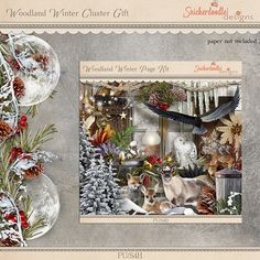 Download this beautiful Woodland Winter Border, created by Norma on the SnickerdoodleDesigns Blog! #digitalscrapbooking #snickerdoodledesigns #freebie