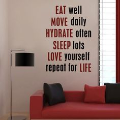 """Wall Decal Words Motivation Fitness Eat Well Sleep Love  33""""h X 22""""w. $35.00, via Etsy."""