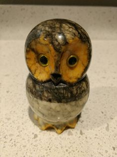 "HANDCARVED ALABASTER TALL OWL 2/"" HEIGHT"