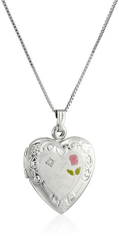 "Sterling Silver Diamond Engraved with ""I Love You"" Heart Locket Necklace, 18"""