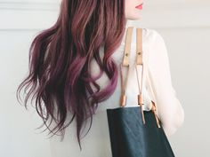 nice bag, but i love her hair! // YELAPA LEATHER TOTE  Black by scoutandcatalogue on Etsy, $218.00