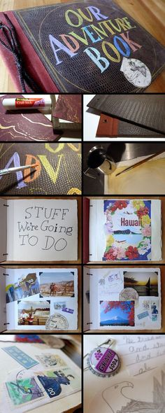 To commemorate my seventh anniversary, I decided to recreate the Adventure Book from Pixar's Up. I reupholstered a Kolo album using faux leather fabric and handmade paper. The lettering was done in...