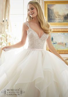 View Dress - Mori Lee Bridal FALL 2016 Collection: 2887 - Dazzling Beaded Bodice on Flounced Tulle and Organza Ball Gown | MoriLee Bridal