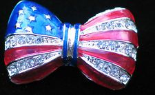 """PATRIOTIC FLAG UNITED STATES USA MEMORIAL INDEPENDENCE DAY BOW TIE PIN BROOCH 1"""""""