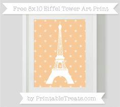 Pastel Light Orange Star Pattern  8x10 Eiffel Tower Art Print