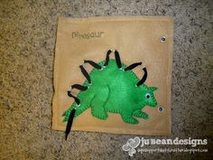 Dino lacing page and other quiet book pages - scroll down on blog page to find