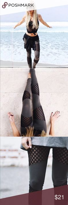 NWT Mesh Cut-Out Leggings Really cute cotton leggings! Dark gray with black mesh cut-outs! Perfect for the gym or just running errands! Pants Leggings