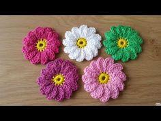 Crochet Flower Squares, Crochet Flower Tutorial, Crochet Doilies, Crochet Flowers, Crochet Stitches, Crochet Designs, Crochet Patterns, Freeform Crochet, Crochet Shoes