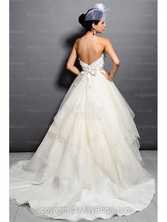 Ball Gown Strapless Appliques Organza Chapel Train Wedding Dress at Millybridal.com