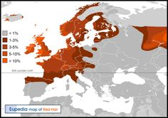 Distribution of haplogroup red hair in Europe