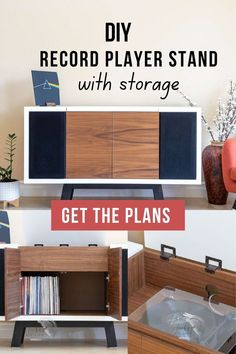 Learn how to build an amazing DIY record player stand with space for speakers and storage for vinyl records with detailed tutorial and plans. #woodworking #storage @AnikasDIYLife Wood Projects For Beginners, Wood Working For Beginners, Diy Wood Projects, Furniture Projects, Furniture Plans, Kids Furniture, Kreg Jig Projects, Beginner Woodworking Projects, Diy Woodworking