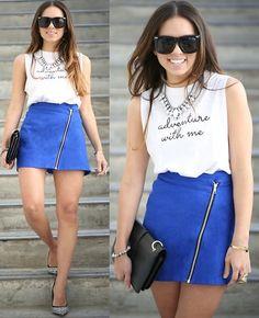 Furor Moda Adventure Tee, Motel Rocks Blue Zipper Skirt, Shoedazzle Shoes, Zerouv Sunglasses