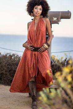 Long Bohemian Dress, Boho Dress, Convertible Wrap Dress, Sexy Dress, Gypsy Beach Dress in Terracotta, Black, Pink, Gray & Camel Beige AL1042 by analiogi on Etsy https://www.etsy.com/listing/223853248/long-bohemian-dress-boho-dress