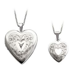 Diamond+Accent+Mother+and+Daughter+Matching+Floral+Heart+Locket+and+Pendant+Set+in+Sterling+Silver