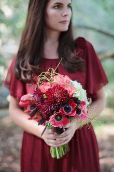 Gorgeous Cranberry Colored Bridesmaids Bouquet- Beauty at Belfair #wedding #flowers