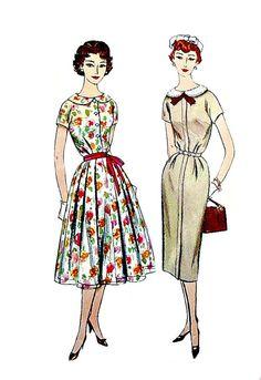 50s Vintage Dresses Sheath or Full Skirt by VintageNeedleFinds, $8.00