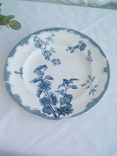 Antique French faïence plate, lovely blue on white design 'Soleil' by Longwy. by FrenchVintageMaison on Etsy