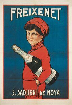 Cartell de Freixenet. El dibuix original va ser retocat prenent com model a un nen de Sant Sadurní. 1929