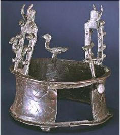 6000-yr-old crown found in Dead Sea cave revealed. The crown was discovered in a remote cave in the Judaean Desert near the Dead Sea in 1961 among 100s of other objects from the period. Known as the 'Nahal Mishar Hoard', more than 400 objects were discovered in the cave which became known as the 'Cave of the Treasure'. The ancient relic, which dates back to the Copper Age between 4000–3300 BC, is shaped like a thick ring & features vultures & doors protruding from the top