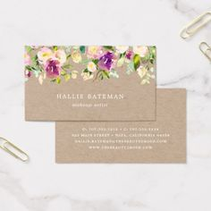#makeupartist - #Vibrant Bloom | Rustic Kraft Floral Business Card Business Card Logo, Business Card Design, Xmas Flowers, Free Printable Business Cards, Boutique Decor, Instagram Design, Name Cards, Floral, Purple Blush