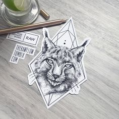 Dotwork lynx with geometric frame - custom tattoo design made for Kayla @island-of-reality