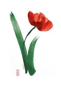 Brushed Flower Sumi-e  #sumi-e