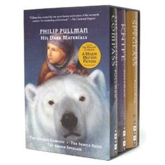 The Golden Compass, The Subtle Knife, and The Amber Spyglass make up the trilogy His Dark Materials by Philip Pullman