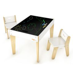 Chalk Board Mode. :)  Pkolino Modern Toddler Table and Chairs - White - PKFFTCMDWH